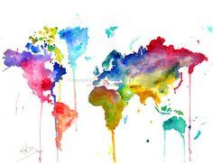 Mapa del mundo  impresión de la ilustración acuarela original