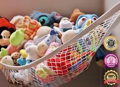MiniOwls Storage Hammock - High Quality Toy Organizer - De-cluttering Solution - Tristan is starting to love stuffed animals and you know they multiply. please only small stuffed animals. I could also use this in other areas too. Pusheen, Bathtub Toy Storage, Toy Hammock, Pikachu, Plush Animals, Stuffed Animals, Sonic, Kids Room Organization, Creative Storage
