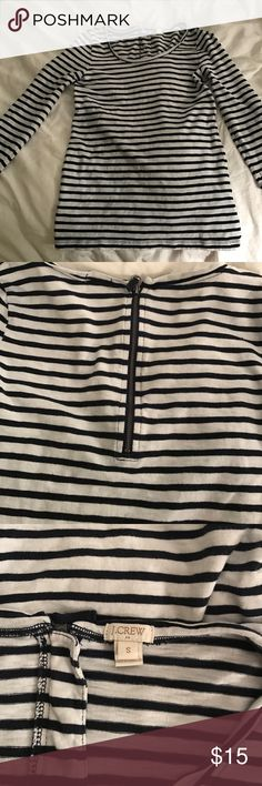 J. Crew striped 3/4 sleeve shirt Comfy J. Crew Cotten Shirt. A staple for your closet. Dress it up for the office or down with jeans and boots. Zipper detail in back adds a little something extra! J. Crew Tops Tees - Long Sleeve