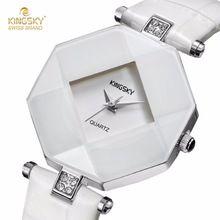 Relogio Feminino KINGSKY Luxury Brand Women Watches Fashion Casual Bracelet Watch White Leather Ladies Wrist Watch for Women(China (Mainland))