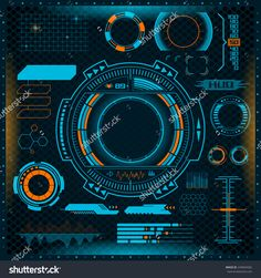 futuristic virtual graphic interface hud elements set
