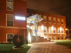 Nighttime photo of the renovated Dundas Valley School of Art by Garwood-Jones & Hanham Architects (now Invizij Architects). www.invizij.ca. Hamilton Ontario Canada, Local Architects, Night Time, Galleries, Waterfall, Art Gallery, Scene, Mansions, Architecture