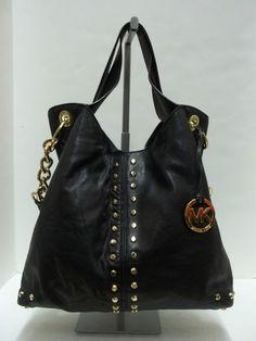 MICHAEL KORS Black Leather Studded Large Uptown Astor Shoulder Tote Handbag