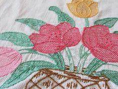Vintage Swedish Huck Embroidered Linen Lace Towel Tulip Bouquet | eBay Vintageblessings