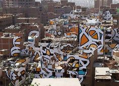 El Seed, d'origine tunisienne au Caire Street Mural, Street Art Graffiti, Urban Graffiti, Kairo, Paris 13, Creators Project, Amazing Street Art, Mural Painting, Typography Inspiration