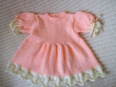 Baby Dress / Frock Size 3 to 6 months in soft Salmon & Milky White natural yarn for sale at Ewe2U on Etsy.com
