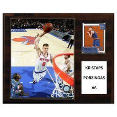 C and I Collectables NBA 15W x 12H in. Kristaps Porzingis New York Knicks Player Plaque - 1215PORZINGIS