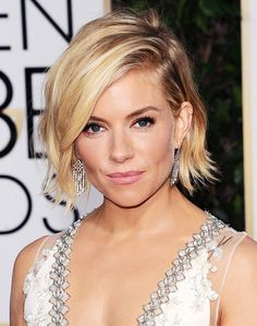 Sienna Miller's ruffled bob // light layers and feathered ends