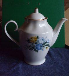 Vintage USSR Latvia Riga RPR Porcelain  Cofee Pot  Gold Flowers  1970s #50