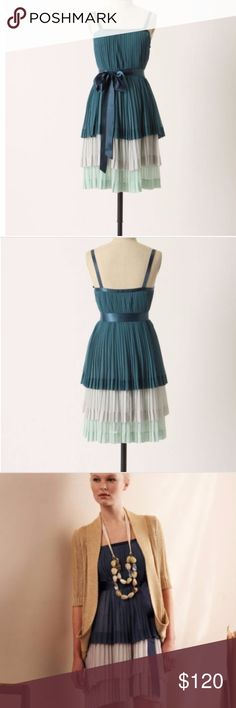 "Anthropologie Girls from Savoy Bayan tiered dress Anthropologie Girls from Savoy Bayan tiered dress- comes WITHOUT THE BELT! Beautiful pleated tier multicolor dress- with 3/4 ribbon straps and 100% chiffon polyester with a 39.5"" length. Brand new condition- without tags! Anthropologie Dresses"