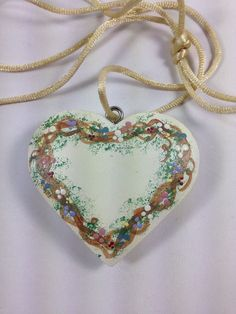 Vintage Handcrafted Heart-Ivory with Floral Design - Necklace- Wood