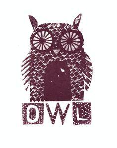 {OWL} gocco print by Jane Ormes