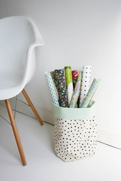 Make a bucket of fabric to organize your sewing space! Fabric bucket tutorial | Apartment Apothecary #fabric #storage #organize