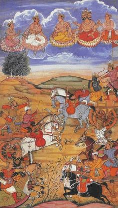 A 16th-century painting illustrating a battle scene in the Bhagavad Gita, during the battle of Kurukshetra.   Arjuna (far right), hero and leader of the Pandava army, is supported by his personal charioteer, the god Krishna (second from right). The gods are looking down on the battlefield.   Krishna is aiding Arjuna mentally and spiritually, explaining him that it is his duty to proceed and to fight for what is right.