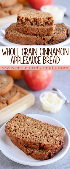 Who knew applesauce bread could be this delicious?  This Whole Grain Cinnamon Applesauce Bread is tender, soft and perfectly spiced.