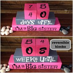 """BIG SISTER COUNTDOWN! Reversible and interactive wood word stacking block set for the new big sister for playroom, nursery, bedroom decor. This block set is a perfect gift so that a child can participate in the excitement of the baby! It also helps your favorite princess with her math skills :} adding to the fun, the middle block is reversible, giving your child more ways to count! One side says """"days"""" until and the other side says """"weeks"""" until. By counting down the days or weeks until…"""