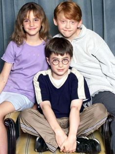 Three New Stars Are Born: The three stars of the Harry Potter franchise, Emma Watson, Daniel Radcliffe and Rupert Grint attend a photocall presenting them as the new cast of the first film, Harry Potter and the Sorcerer's Stone, in London, August 23, 2000.    ***they're soooo cute!