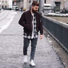H&M Bomber, Bershka Shirt, Topman Jeans, Stansmsmith Trainers - Snowflake