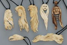 Carved antler Pendants by Billy Reynolds a Woodcarving instructor at the John C… Antler Jewelry, Bone Jewelry, Wooden Jewelry, Wood Carving Art, Bone Carving, Wood Art, Deer Antler Crafts, Antler Art, Bone Crafts