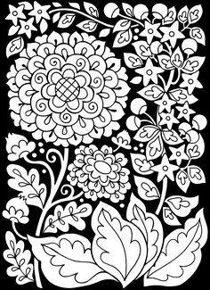 Free coloring page coloring-adult-flowers-black-background. Flowers with black background