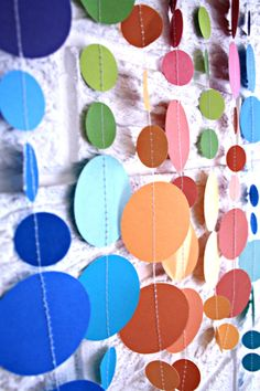 party decoration  paper dot garland  custom colors // by pomtree, $14.00