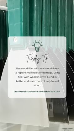 TUESDAY TIP: Wood Filler 🌳 Use wood filler with real wood fibers in it for repairs. The wood fibers make the filler blend in better and stain more similarly to wood than artificial materials. Like and follow for more tips! #TuesdayTip #Furniture #Wood #DIY #UnfinishedFurnitureofWilmington Unfinished Furniture, Real Wood, Tuesday, Solid Wood, Web Design, Cards Against Humanity, Tips, Design Web, Website Designs