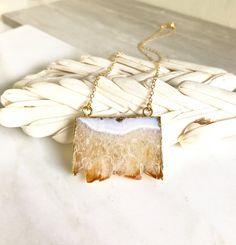 Topaz Slice Druzy Necklace. Geode Necklace. Druzy by RusticGem