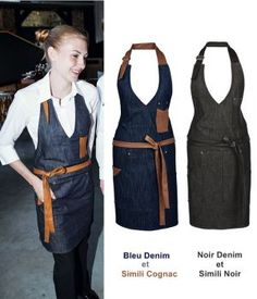 Work Aprons, Cute Aprons, Sewing Aprons, Sewing Clothes, Cafe Uniform, Jean Apron, Mode Chanel, Leather Apron, Recycle Jeans