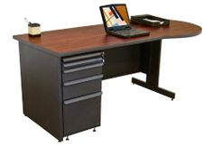 "Teachers Conference Desk by Marvel by Marvel. $1149.00. Lifetime Warranty. Steel & Metal Desks Marvel Teachers Conference Desk features steel construction with attractive finish for easy care. Desk features a durable high pressure laminate finish and a 9"" knee space overhang. Lockable pedestal includes pull-out writing tray, 2 box drawers and a file drawer. 12"" x 17"" writing tray glides easily on ball-bearing slides. Worksurface depth is 30"". Spacious 36"" semi-circular worksu..."