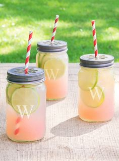 These fun, personalized mason jars would make such great gifts. They even feature a barbershop-striped straw!