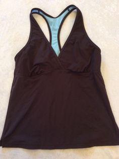 Athleta Tankini Swimsuit Top Medium Womens Brown Racerback Swim #Athleta #TankiniTop