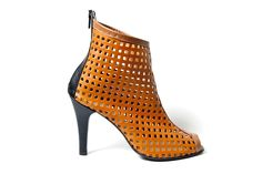 Opened toe perforated leather boots by Cristina Maxim. Heel 10 cm. Order any size.  https://www.facebook.com/pages/C-Maxim-Footwear/524325827605883