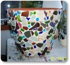 Sea Glass Mosaic Flower Pot: ~ sea glass project submitted by Mona in Maine   Here is another fine project for you to try submitted by Mona from Maine.  Flower pots are numerous
