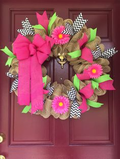 Mesh Wreath, Pink, Green & Black Chevron