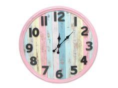 Earth de Fleur Homewares - Rustic Metal & Wood Beach Decor Wall Clock Pink
