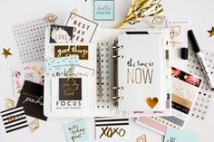 Heidi Swapp - Memory Planner - Personal Planner - Gold Foil - Stripes
