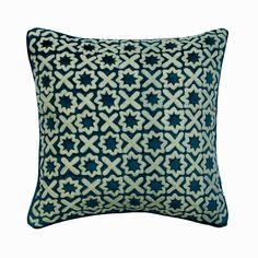 "Decorative Cushion 16""x 16"", Toss Throw Pillow Peacock Blue Velvet with Bouclet Embroidery Pillow Cover Trellis Pattern Home Decor - Alston Blue Bedroom Decor, Blue Home Decor, Embroidered Pillows, Trellis Pattern, Decorative Cushions, Peacock Blue, Velvet Pillows, Handmade Home Decor, Blue Velvet"