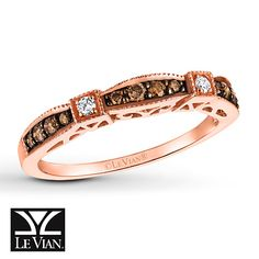 LeVian Chocolate Diamonds 1/4 ct tw Ring 14K Strawberry Gold