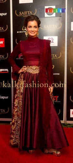 http://www.kalkifashion.com/   Dia Mirza in wine color gorn by Manish Malhotra attending SAIFTA