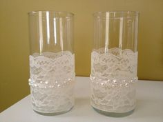 wedding centerpieces with lace covered glass - Google Search