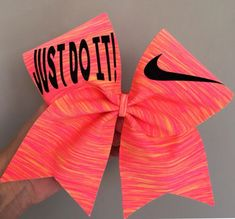Neon Sunset Spandex Just Do It Cheer Bow Glitter details Swoosh
