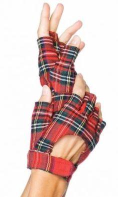 Plaid fingerless gloves