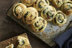 Spinach & Feta Scrolls with Pine Nuts