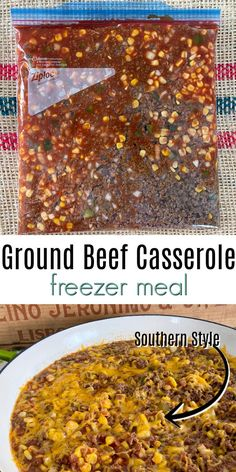 Make this easy ground beef casserole freezer meal southern style. If you want to add pasta, it's like a tasty homemade hamburger helper. meals with ground beef Hamburger Freezer Meals, Freezable Meals, Hamburger Recipes, Slow Cooker Casserole, Beef Casserole Recipes, Easy Ground Beef Casseroles, Ground Beef Recipes, Homemade Hamburger Helper, Thai Sweet Chili Sauce