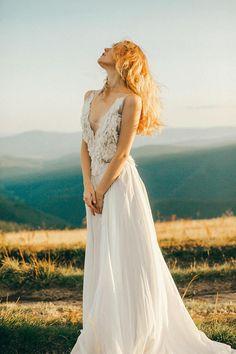 Open back wedding dress // Linda / Silk wedding gown beach #affiliate