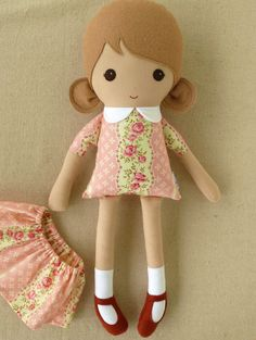 Fabric Doll Rag Doll Girl in Pink Floral Dress by rovingovine