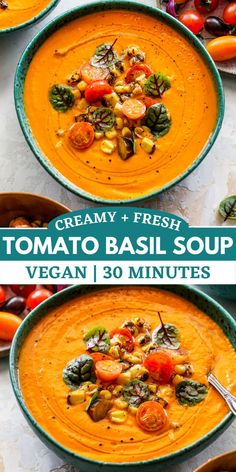 Creamy Tomato Basil Soup with fresh tomatoes, basil, and garlic, topped with tomato-corn salsa. This vegan tomato soup is easy to make and will become a year-round favorite. #tomatosoup #vegansoup #healthysouprecipes Vegan Tomato Soup, Creamy Tomato Basil Soup, Creamy Corn, Vegetarian Soup, Vegan Soups, Healthy Soup Recipes, Vegetable Recipes, Tomato Bisque, Corn Salsa
