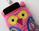 SO CUTE/Owl Cell phone Case in Orange Tonal Quilted Fabric with dot Accents