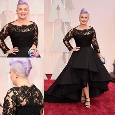 87th Oscar Kelly Osbourne Celebrity Dresses Long Sleeved Lace Scallop Black High Low Red Carpet Sheer Evening Wear Party Ball Gowns #2k16