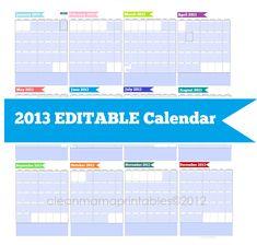 2013 Editable Planner or Binder Calendar